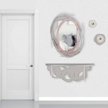 Consolle Moderna di Design in Legno Sabbia e Beige da Fissare a Parete - Orbita