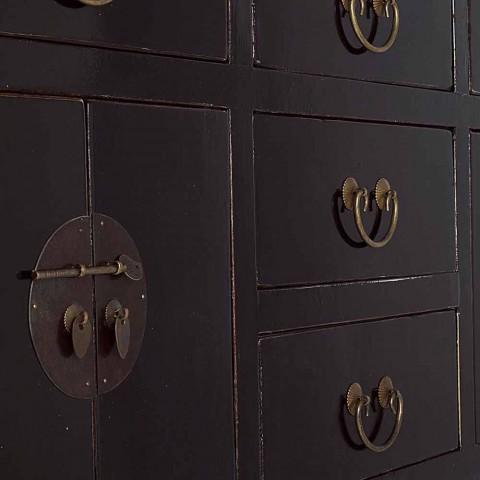 Consolle Nera in Legno di Olmo di Design Vintage 5 Cassetti Homemotion - Sonten