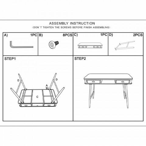 Consolle Rettangolare in Ferro e Legno Design Moderno - Ermo