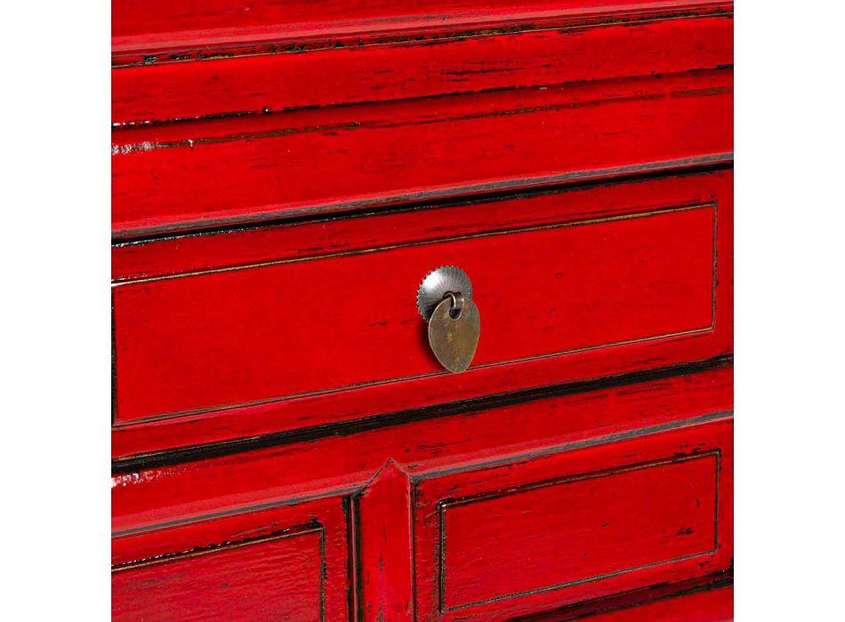 Consolle Rossa in Legno di Olmo con 3 Cassetti Design Homemotion - Sonten