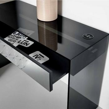Consolle Scrivania di Design in Vetro Fumè con Cassetto Made in Italy – Mantra