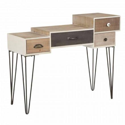 Consolle con Cassetti Stile Industrial Moderno in Legno e Metallo - Lille
