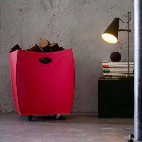Contenitore portalegna in cuoio di design Botte, made in Italy