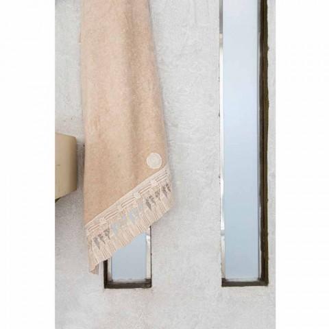 Coppia Asciugamani Viso e Ospite in Spugna di Cotone con Pizzo Nappine - Arafico