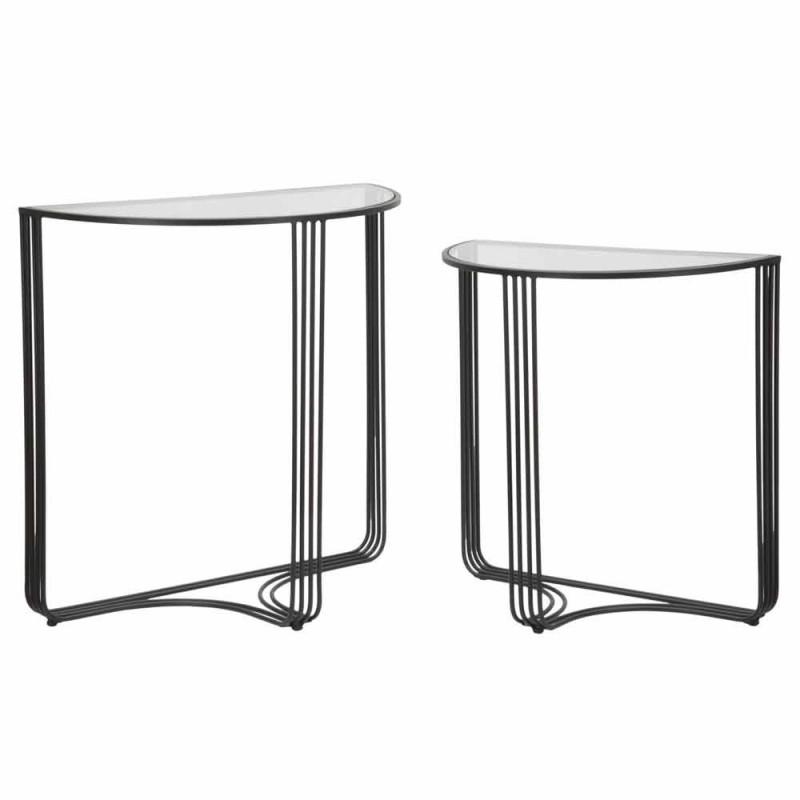 Coppia di Consolle di Design Moderno in Ferro e Vetro - Ferdie