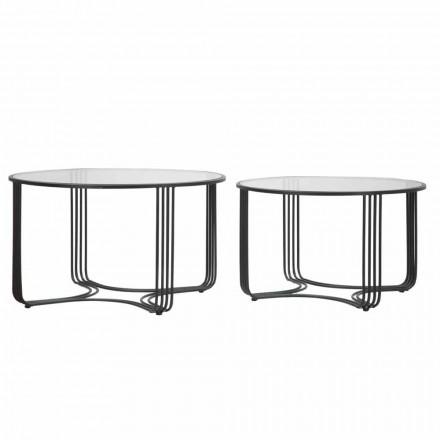 Coppia di Tavoli da Caffè Bassi Rotondi Moderni in Vetro e Ferro - Mirna