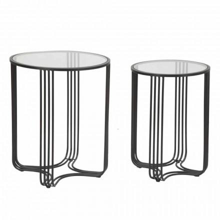 Coppia di Tavolini da Salotto Rotondi in Vetro e Ferro Design Moderno - Ezra