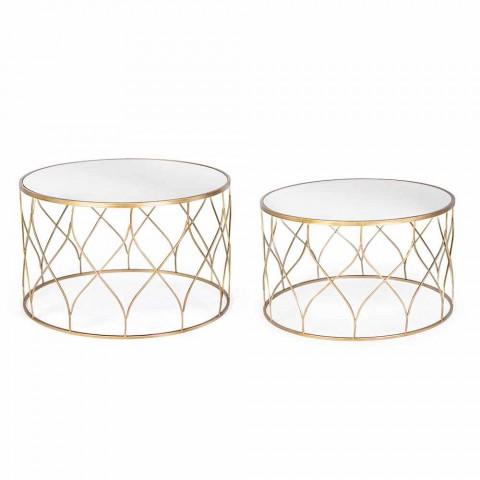 Coppia di Tavolini da Salotto Rotondi in Vetro e Acciaio Homemotion - Amarillide
