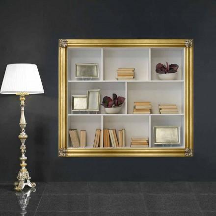 Libreria a parete in legno di geloton prodotta in Italia Giulio
