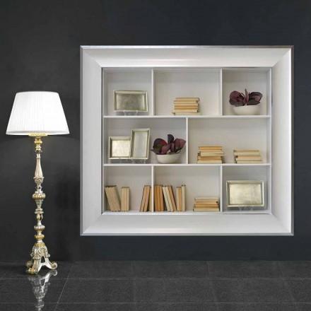 Libreria a muro con scomparti in legno Tommaso, fatta a mano in Italia