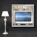 Cornice Porta TV da Parete Decorata a Mano in Legno Made in Italy - Mirko