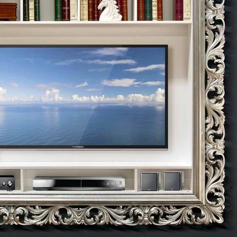 Cornice portaplasma da parete prodotta a mano in Italia in legno Mario