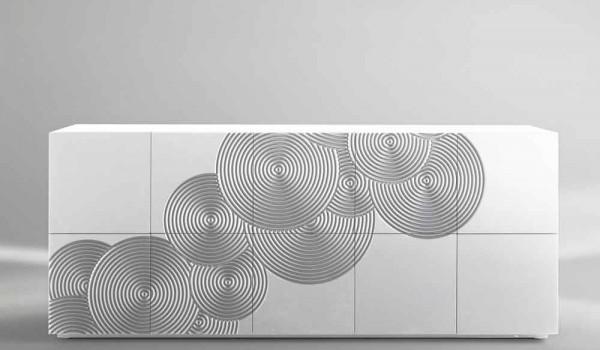 Credenza Moderna Bianca Design : Credenza moderna faro bianca o nera madia di design mobile