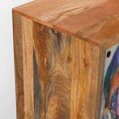 Credenza a due ante scorrevoli di design in legno di mango, Cepagatti