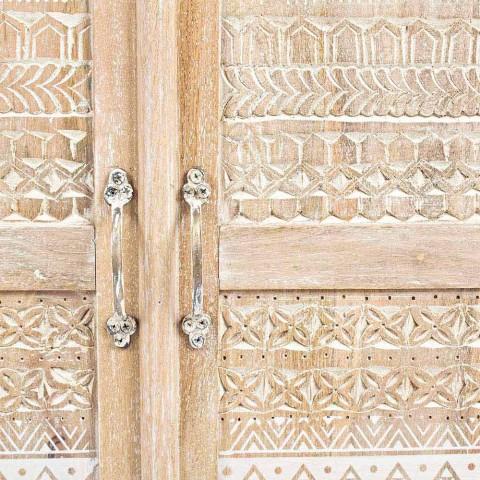 Credenza Alta in Legno Decorato a Mano con Maniglie in Ottone Homemotion - Zotto
