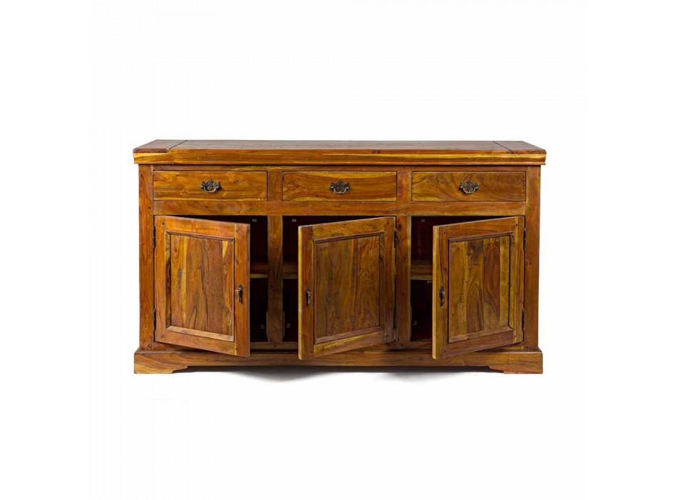 Credenza Design Classico in Legno di Acacia Massello Finitura Rustica - Malaya