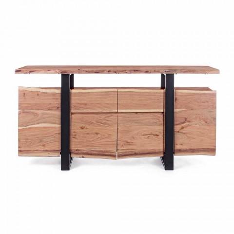Credenza di Design in Legno di Acacia e Acciaio Verniciato Homemotion - Lanza