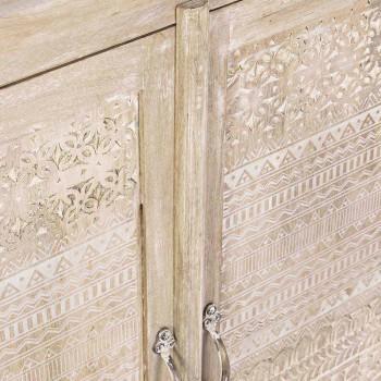 Credenza in Legno di Mango con Decorazioni Intarsiate a Mano - Zotto