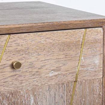 Credenza in Legno Teak con Inserti in Acciaio Color Oro Stile Vintage - Mayra