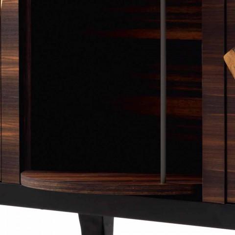Credenza moderna 3 ante Grilli Zarafa in radica noce e legno di ebano