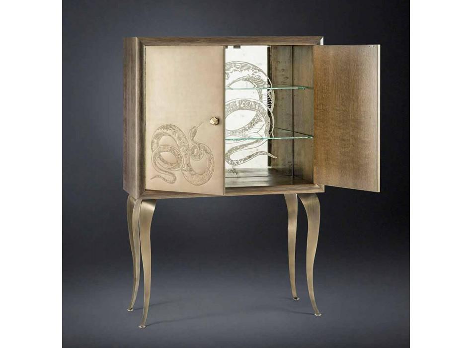 Credenza moderna con 2 ante in legno massello e pelle anilina Joy