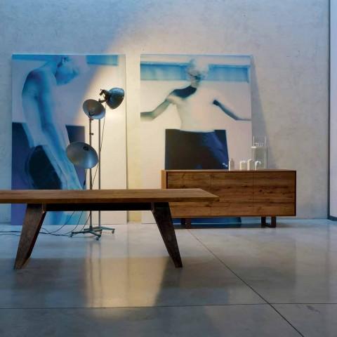 Credenza moderna con 3 ante noce naturale, L 215 x P 50 cm, Flora