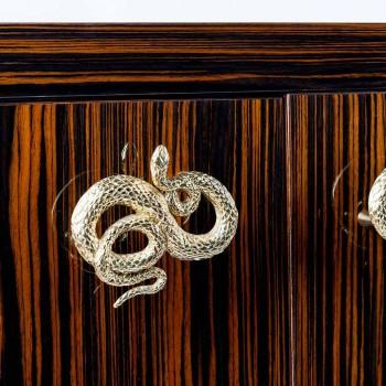 Credenza moderna con 4 ante in legno di ebano lucido Ada 2