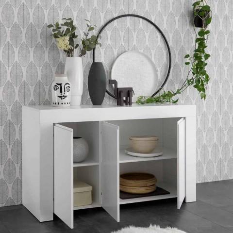 Credenza Moderna in Melaminico Bianco Opaco Made in Italy - Emil