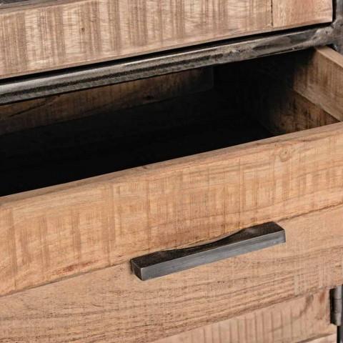 Credenza Stile Industriale in Legno d'Acacia e Acciaio Homemotion - Zompo
