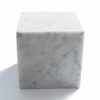 Cubo Fermacarte Design in Marmo Bianco di Carrara Satinato Made in Italy - Qubo