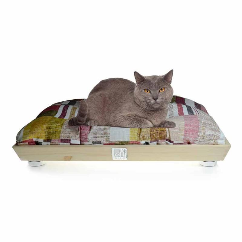 Cuccia Cani e Gatti in Legno Massello con Cuscino Lavabile Made in Italy - Juma