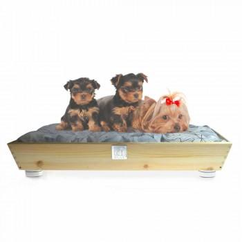Cuccia Cani e Gatti in Legno Massello con Maniglie e Cuscino Made in Italy - Lyn