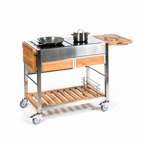 Cucina da Giardino  Esterno Moderna su Ruote in Legno e Acciaio - Buoncalliope