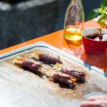 Cucina Moderna su Ruote da Esterno da Giardino in Legno e Acciaio - Calliope