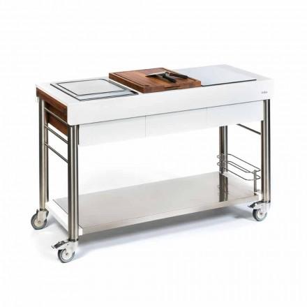 Cucina da Esterno su Ruote di Design, Alta Qualità in Legno e Acciaio - Calliope