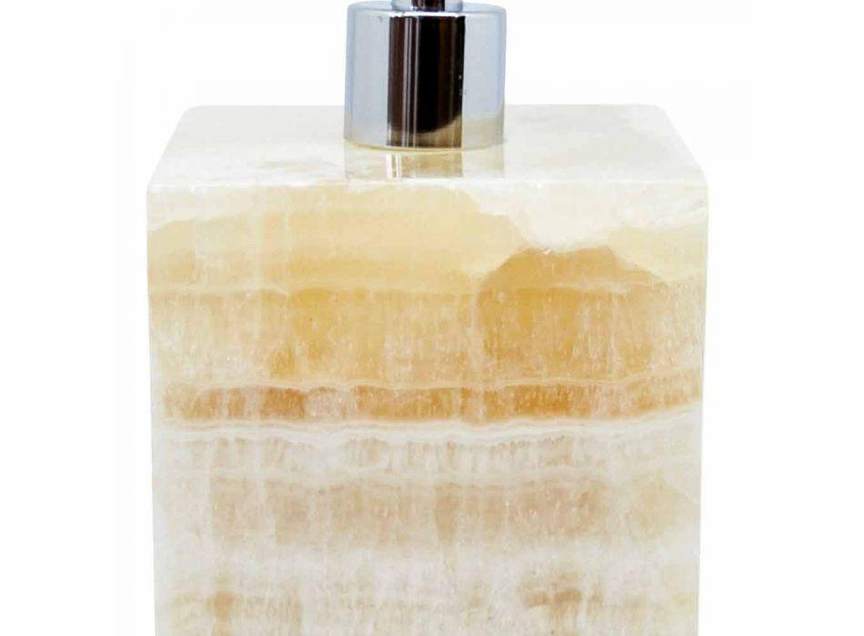 Dispenser Sapone Liquido da Bagno Design Quadrato in Marmo Portoro - Maelissa