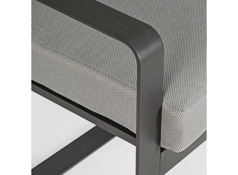 Divano 2 Posti da Esterno in Alluminio con Cuscini in Tessuto - Mirea