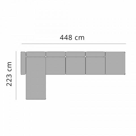 Divano 3 Posti da Esterno in Alluminio con Allunga e Chaise Longue - Filomena