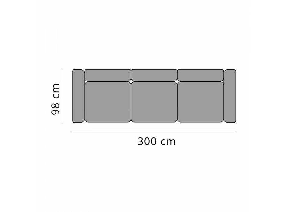 Divano 3 Posti da Esterno in Alluminio Design e Tessuto in 3 Finiture - Filomena
