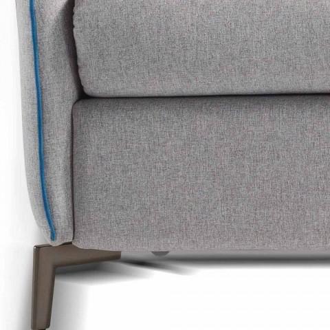 Divano 3 posti di design L.185cm tessuto/ecopelle made in Italy Erica