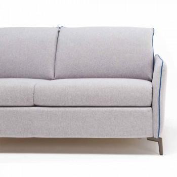 Divano 3 posti maxi L205 cm design moderno in ecopelle/tessuto Erica
