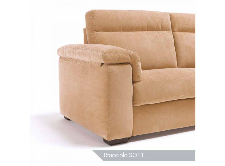 Divano a 2 posti di design in tessuto o ecopelle Lilia, made in Italy