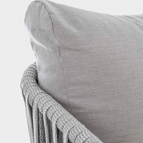 Divano a 3 Posti da Esterno di Design Bianco e Grigio Homemotion - Rubio