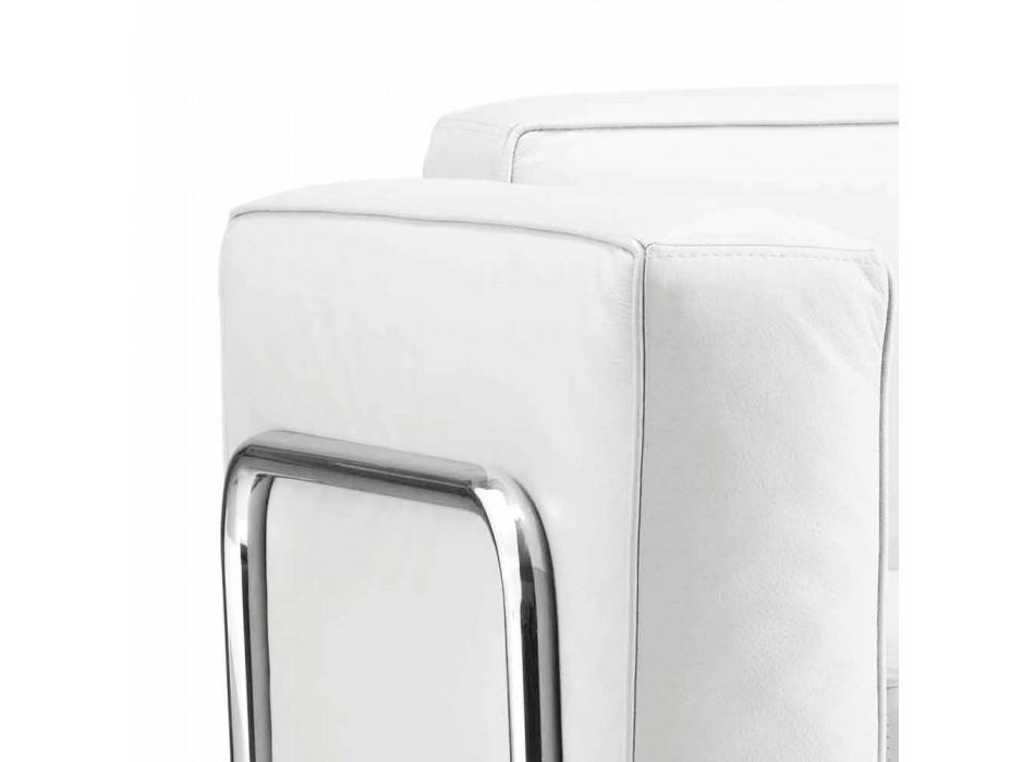 Divano a due posti moderno in ecopelle bianca e parti cromate Bugola