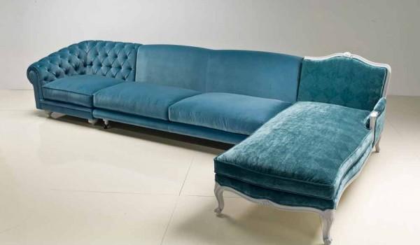 Divano ad angolo design classico di lusso made in italy narciso
