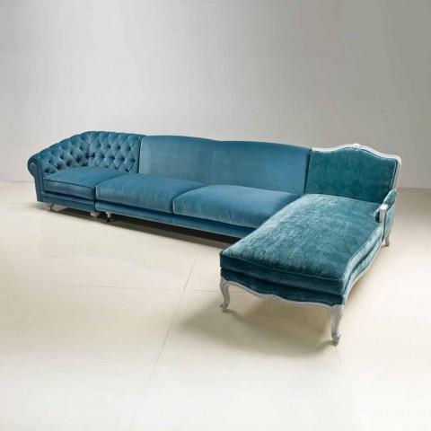 Divano ad angolo design classico di lusso, made in Italy, Narciso