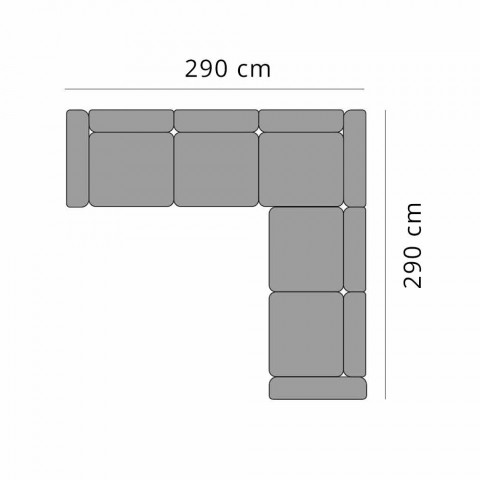 Divano Angolare da Esterno 5 Posti in Alluminio Design in 3 Finiture - Filomena