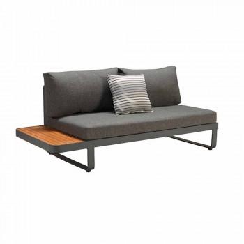 Divano Angolare da Esterno con Tavolino in Teak e Alluminio di Design - Hatice