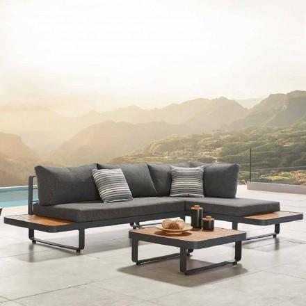 Divano Angolare da Esterno con Tavolino in Teak e Alluminio di Design - Cender