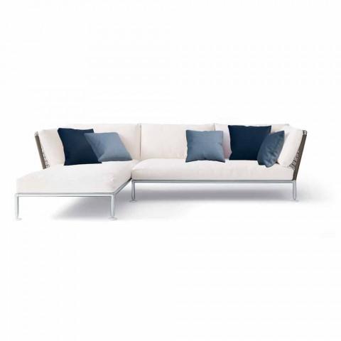 Divano Angolare da Esterno Design Moderno in Tessuto Tortora o Bianco - Ontario3